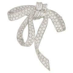 18 Karat Gold Diamond Bow Brooch Pendant