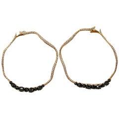 Jona Black Spinel White Diamond 18 Karat Rose Gold Hoop Earrings