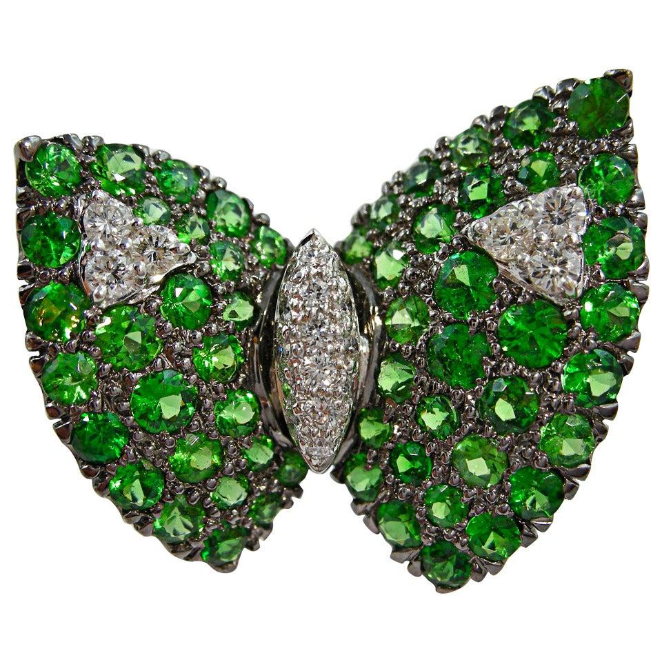 Jona Tsavorite White Diamond 18k White Gold Butterfly Pin Brooch