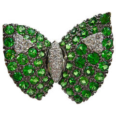 Jona Tsavorite White Diamond 18k White Gold Butterfly Pin Brooch