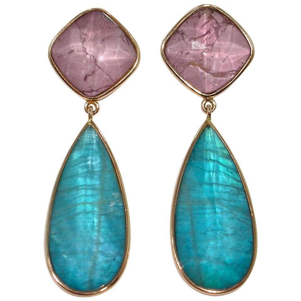 Jona Apatite Rhodolite Quartz 18k Rose Gold Drop Earrings