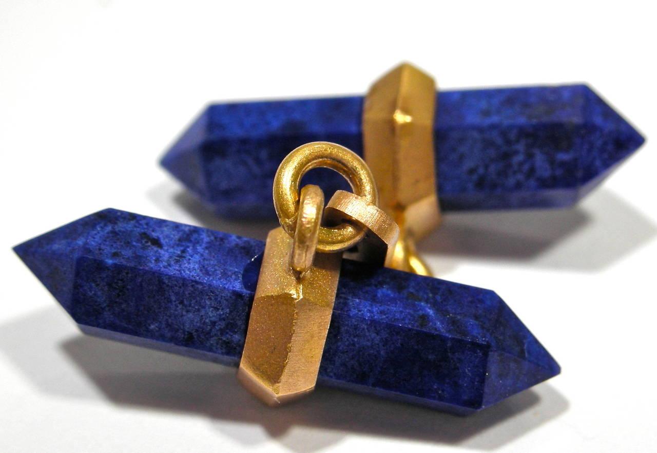 Mixed Cut Jona Lapis Lazuli 18k Satin Rose Gold Prism Bar Cufflinks For Sale
