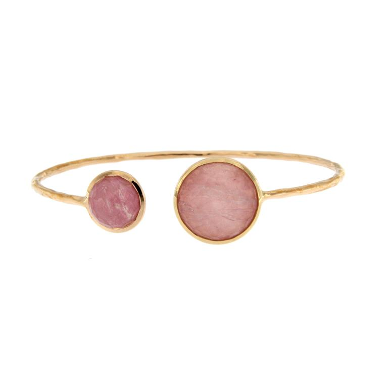 Jona Morganite Mother-of-Pearl Rock Crystal Gold Bracelet For Sale