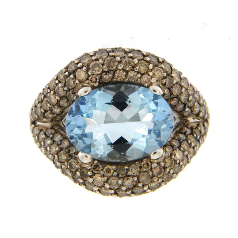 Jona Aquamarine Champagne Diamond White Gold Ring