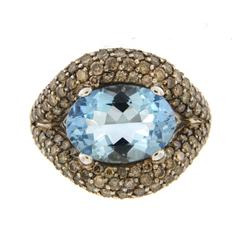 Jona Aquamarine Champagne Diamond 18 Karat White Gold Ring
