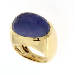 Jona Lapis Lazuli Rock Crystal Mother of Pearl 18 Karat Yellow Gold Dome Ring