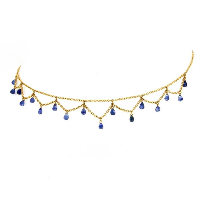 Jona Blue Sapphire 18 Karat Yellow Gold Necklace In New Condition In Torino, IT