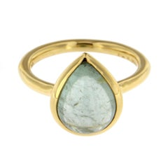 Jona Blue Tourmaline 18 Karat Brushed Yellow Gold Ring