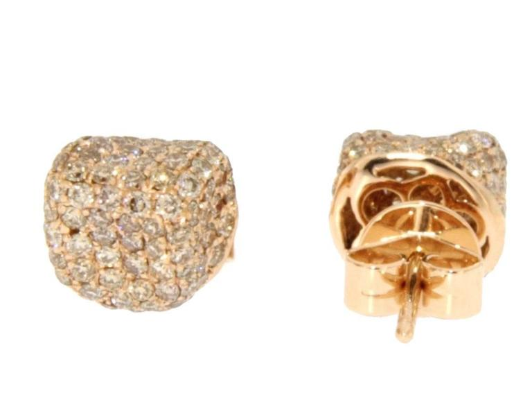 Jona Brown Diamond 18 Karat Pink Gold Stud Earrings In New Condition For Sale In Torino, IT