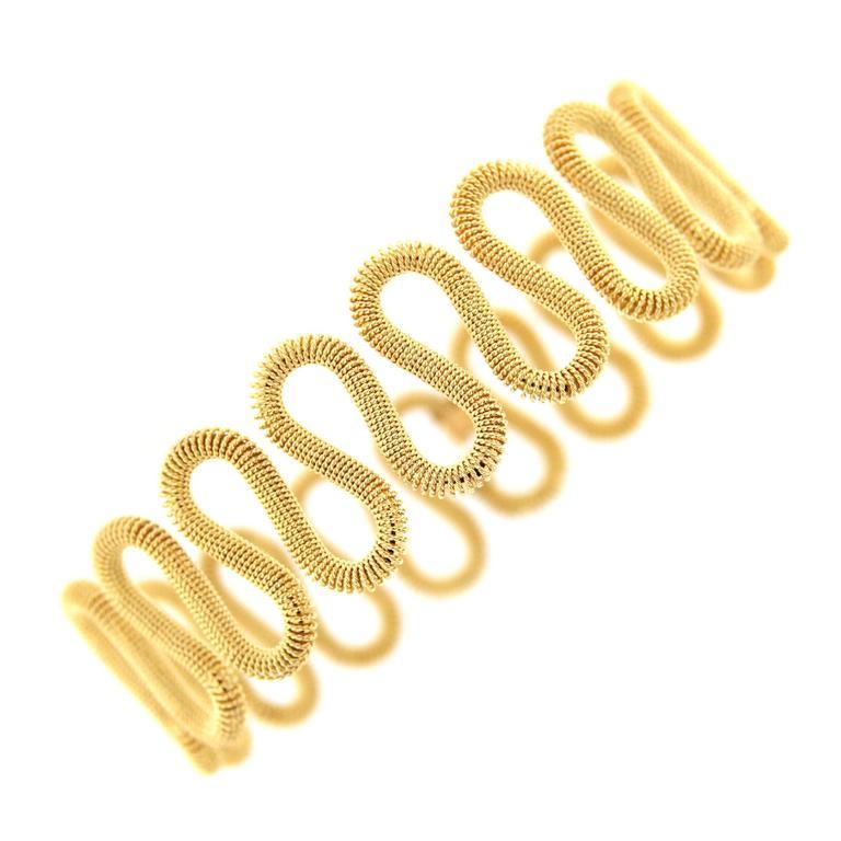Jona 18 Karat Yellow Gold Twisted Wire Bangle Bracelet