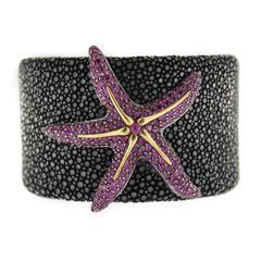 Jona Shagreen Silver Ruby Starfish Cuff Bracelet