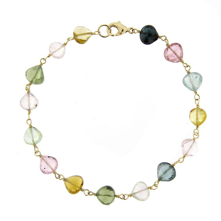 Jona Multi-Color Tourmaline Drops Gold Bracelet