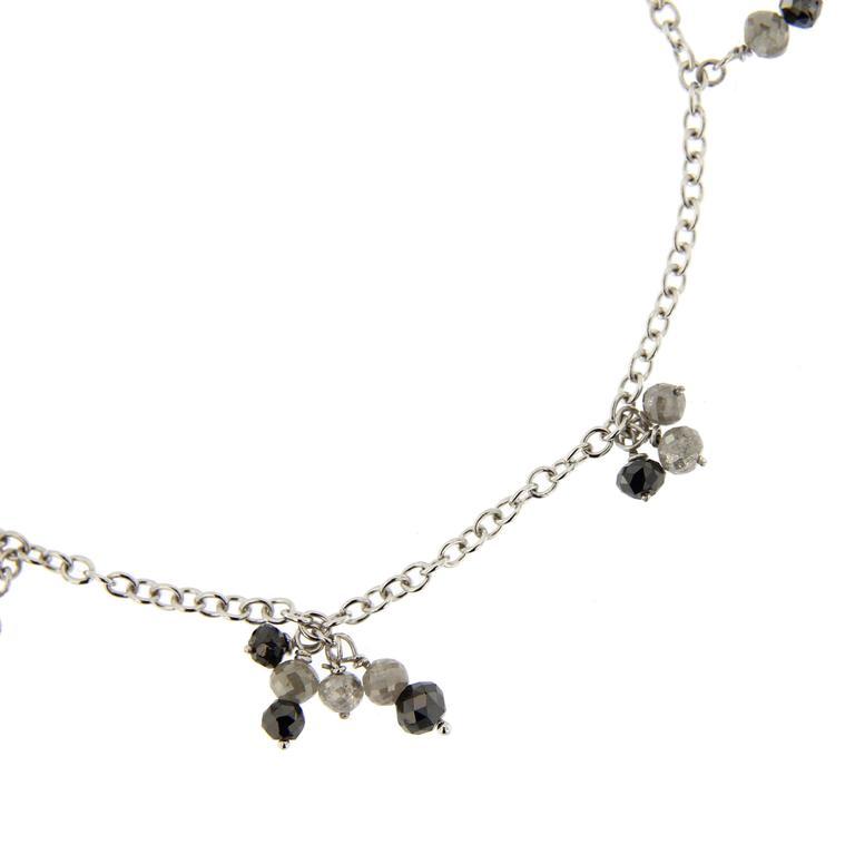 Briolette Cut Jona Black and Ice Diamond 18 Karat White Gold Bracelet For Sale