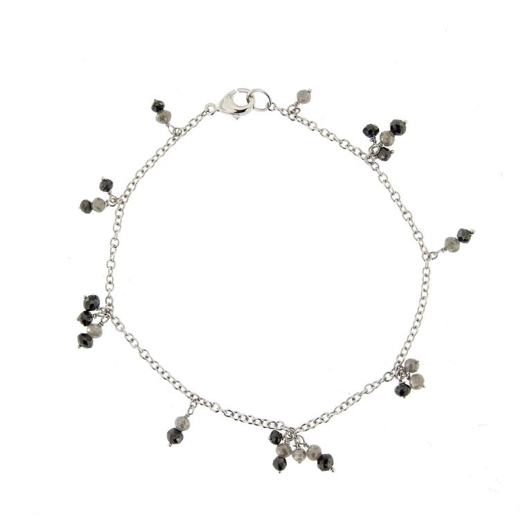 Women's or Men's Jona Black and Ice Diamond 18 Karat White Gold Bracelet For Sale