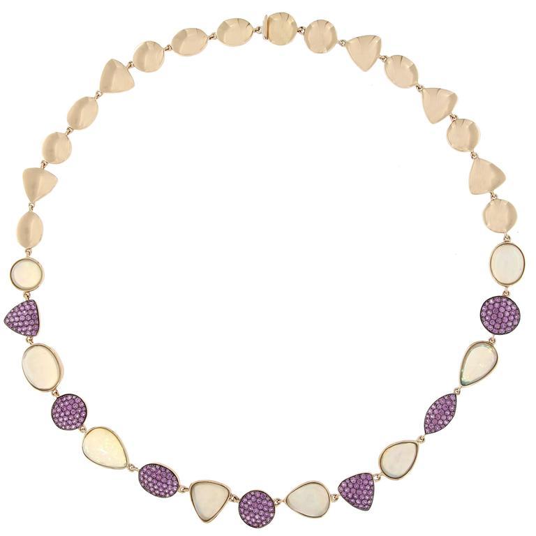 Jona Opal Pink Sapphire Rose Gold Necklace