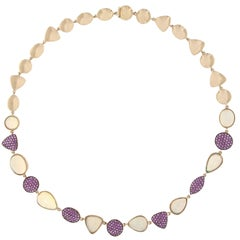 Jona Opal Pink Sapphire 18 Karat Rose Gold Necklace