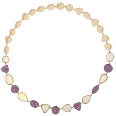 Jona Opal and Pink Sapphire Rose Gold Necklace