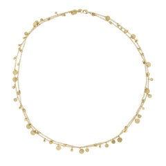 Jona Multi Coin 18 Karat Yellow Gold Long Chain Necklace