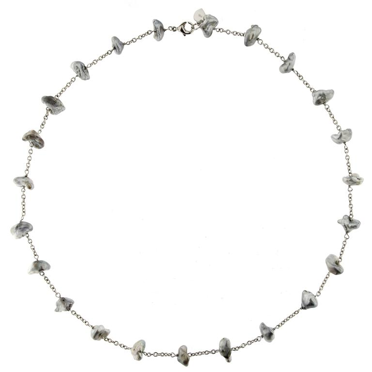 Jona Tahiti Grey Keshi Pearl 18 Karat White Gold Necklace