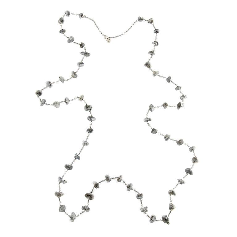 Jona Keshi Grey Pearl White Gold Long Chain Necklace