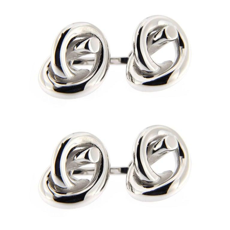 Jona Sterling Silver Knot Cufflinks For Sale