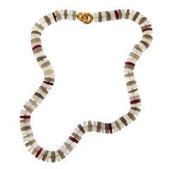 Jona Red Spinel Smoky Quartz & Rock Crystal Necklace