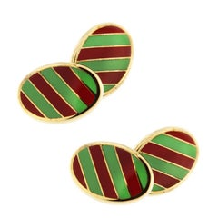 Jona Sterling Silver Gold-Plated Green and Red Stripe Enamel Cufflinks