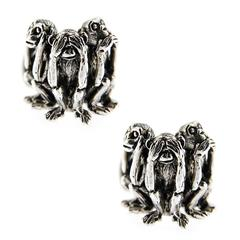 Jona Sterling Silver Three Wise Monkeys Cufflinks