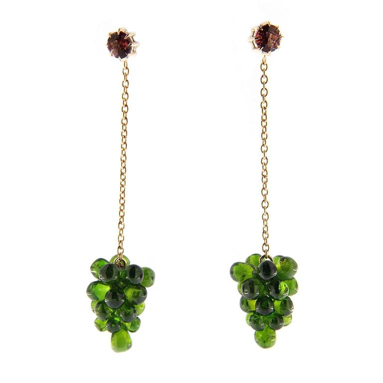 Jona Chrome Diopside Cluster Pink Tourmaline Gold Pendant Earrings 1