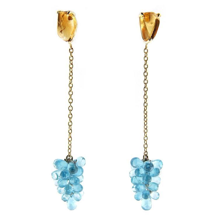 Jona Apatite Cluster Citrine Gold Pendant Earrings
