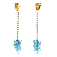 Jona Apatite Cluster Citrine 18 Karat Yellow Gold Pendant Earrings