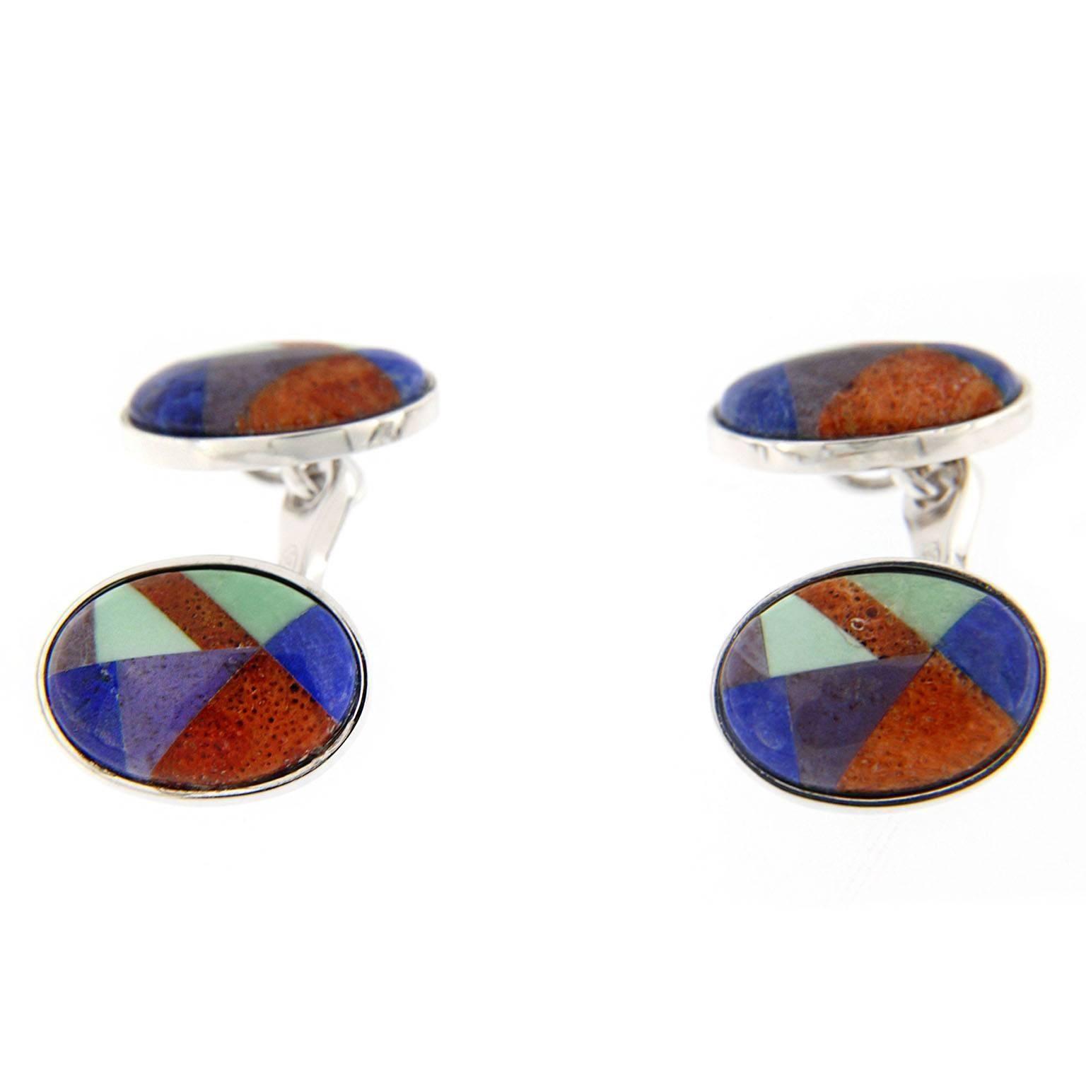 Jona Modernist Semi Precious Stone Sterling Silver Cufflinks