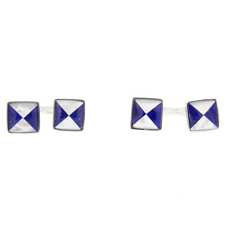 Alex Jona Lapis Lazuli Sterling Silver Cufflinks For Sale