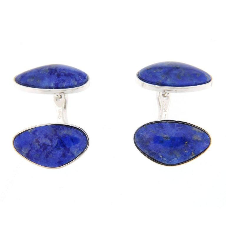 Jona Lapis Lazuli Sterling Silver Cufflinks For Sale