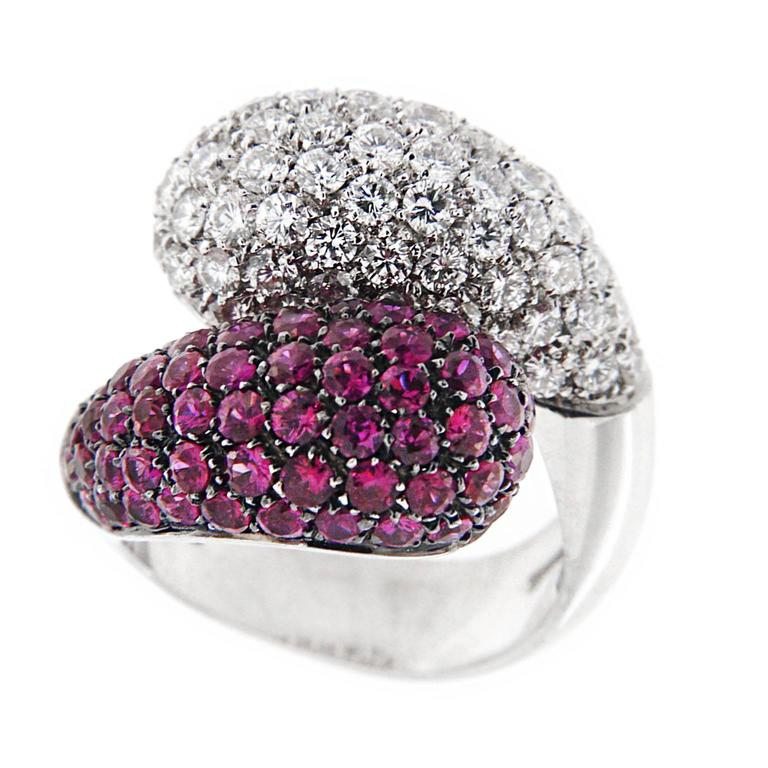 Jona Ruby Pavé White Diamond 18 Karat Gold Crossover Dome Cocktail Ring