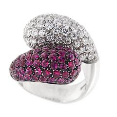 Jona Ruby White Diamond 18 Karat White Gold Crossover Dome Cocktail Ring