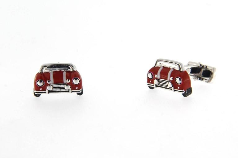 Jona Sterling Silver Red and White Enamel Classic Mini Car Cufflinks In New Condition For Sale In Torino, IT