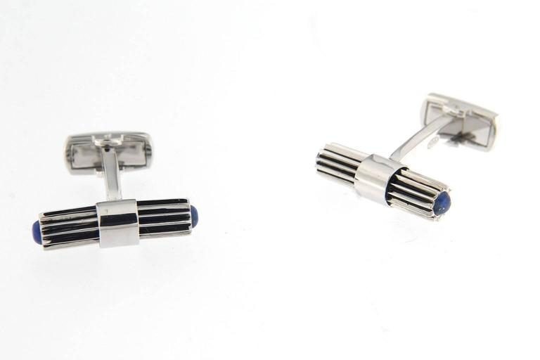 Jona Lapis Lazuli Sterling Silver Bar Cufflinks In New Condition For Sale In Torino, IT