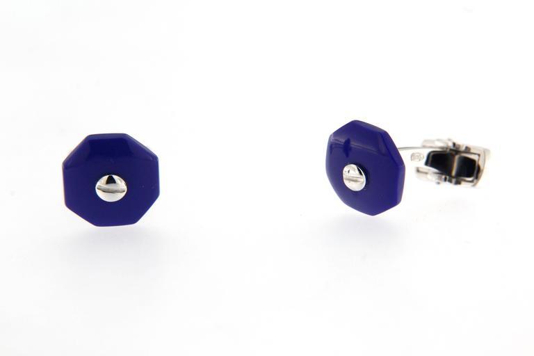 Jona Blue Enamel Sterling Silver Cufflinks In New Condition For Sale In Torino, IT