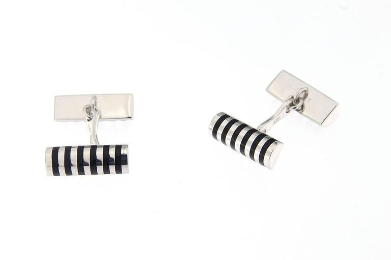 Jona Black Enamel Sterling Silver Cufflinks In New Condition For Sale In Torino, IT