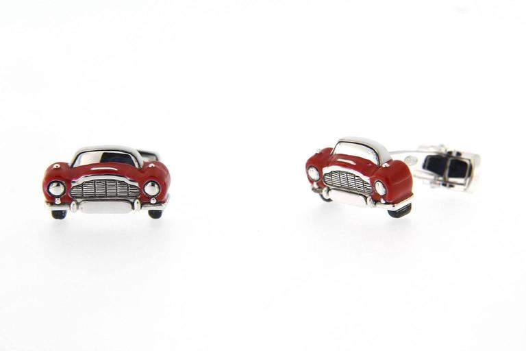 Jona Sterling Silver Red Enamel Classic Convertible Car Cufflinks In New Condition For Sale In Torino, IT