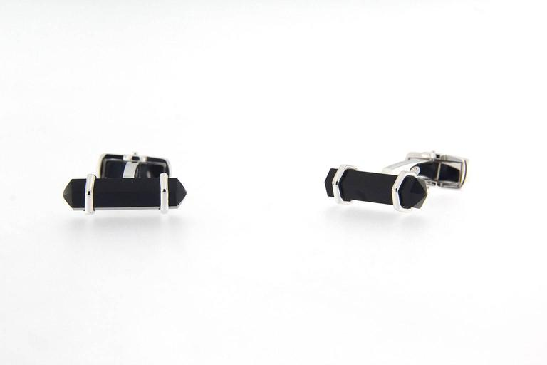 Mixed Cut Jona Onyx Sterling Silver Cufflinks For Sale