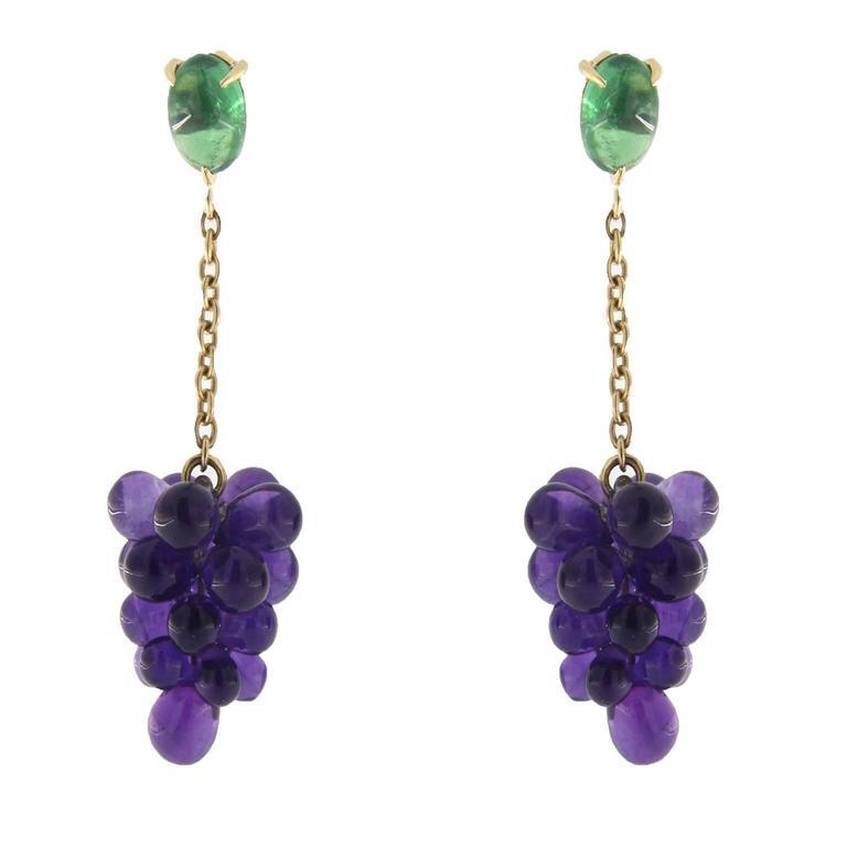 Jona Amethyst Tsavorite 18k Yellow Gold Pendant Cluster Earrings