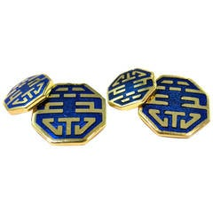 Jona Long and Happy Life Enamel Gold Cufflinks