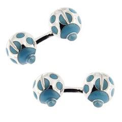 Jona Sterling Silver Turquoise Enamel Ladybug Cufflinks