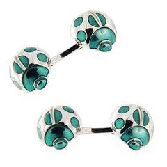 Jona Sterling Silver Green Enamel Ladybug Cufflinks