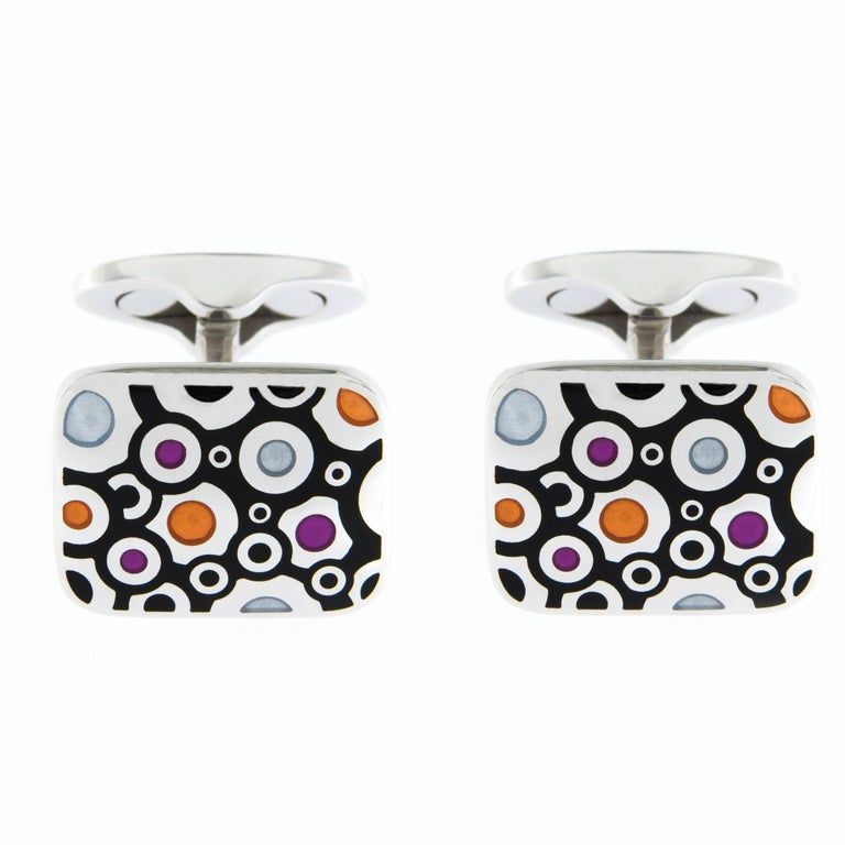 Jona Sterling Silver Enamel Cufflinks For Sale