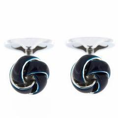 Jona Sterling Silver Petroleum Blue Enamel Knot Cufflinks