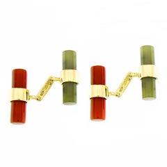 Jona 18k Yellow Gold Carnelian Moss Agate Cylinder Cufflinks
