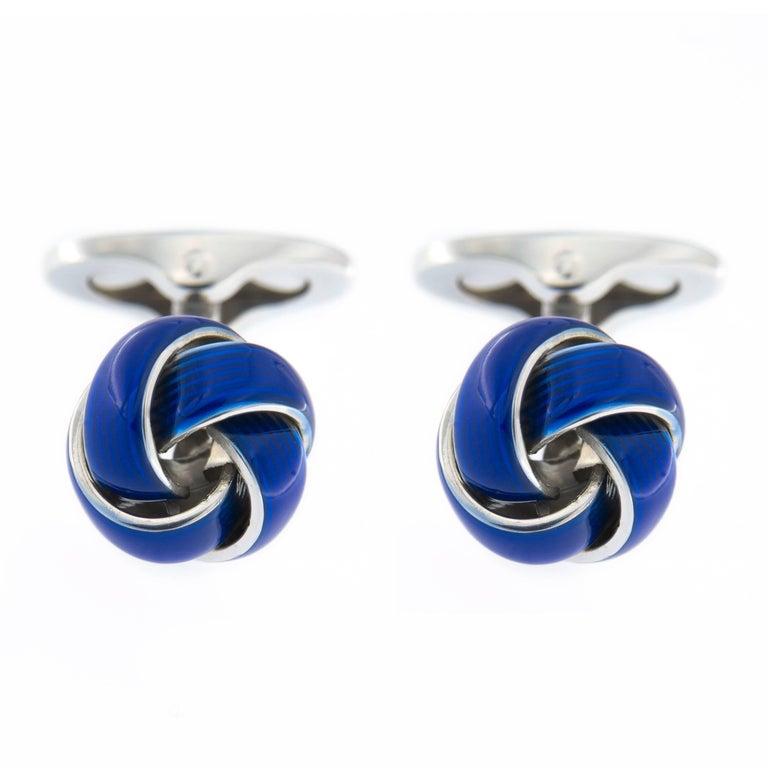 Jona Sterling Silver Blue Enamel Knot Cufflinks